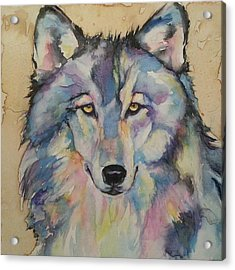 Acrylic Print featuring the painting Wolf by Christy  Freeman