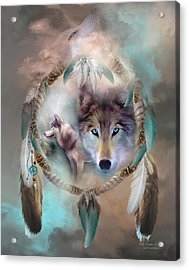 Wolf - Dreams Of Peace Acrylic Print by Carol Cavalaris