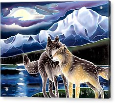 Wolf Greeting Acrylic Print by Harriet Peck Taylor