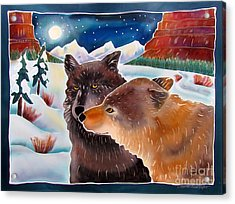 Wolf Talk Acrylic Print by Harriet Peck Taylor