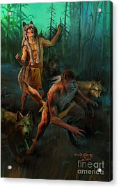 Acrylic Print featuring the painting Wolf Warriors Change by Rob Corsetti