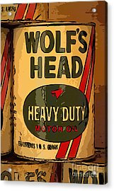 Wolf's Head Oil Can Acrylic Print by Carrie Cranwill