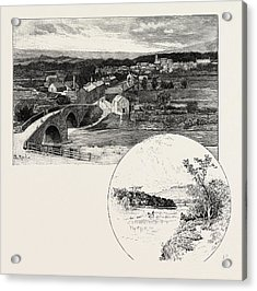 Wolsingham Left, Harperly Right, Uk. Wolsingham Is A Small Acrylic Print by English School