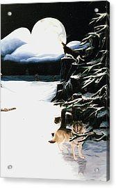 Acrylic Print featuring the painting Wolves In The Snow by Susan Roberts
