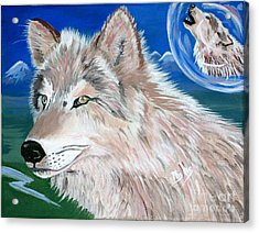 Acrylic Print featuring the painting Wolves by Phyllis Kaltenbach