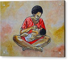Acrylic Print featuring the drawing Woman And Child by Anthony Mwangi