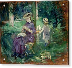 Woman And Child In A Garden Acrylic Print by Berthe Morisot