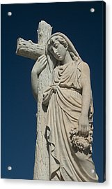 Woman And Cross Statue Acrylic Print
