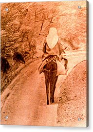 Woman And Donkey-going Home Acrylic Print