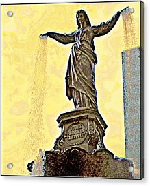 Woman And Flowing Water Sculpture At Fountain Square Acrylic Print by Kathy Barney