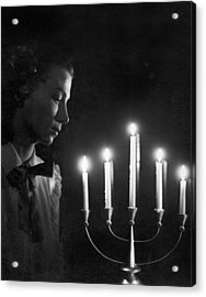 Woman And Menorah Acrylic Print