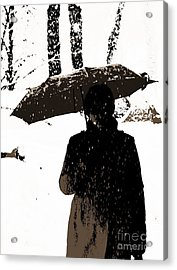 Woman And Rain Acrylic Print by Yury Bashkin