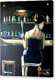 Woman At The Bar Acrylic Print by Judy Kay