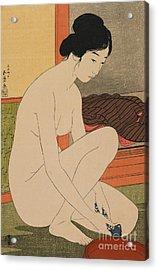 Woman Bathing Taisho Era Acrylic Print by Goyo Hashiguchi