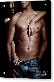 Woman Behind Sexy Man With Bare Torso And Jeans Acrylic Print by Oleksiy Maksymenko