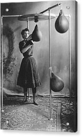 Woman Boxing Workout Acrylic Print by Underwood Archives