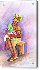 Woman Breastfeeding Bay In Rwanda Acrylic Print by Emmanuel Baliyanga