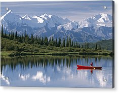 Woman Canoeing In Wonder Lake Alaska Acrylic Print by Michael DeYoung