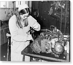 Woman Car Mechanic Acrylic Print by Underwood Archives