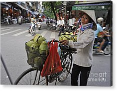 Woman Carrying Fruit On Bike Acrylic Print