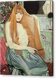 Woman Combing Her Hair Acrylic Print by Louis Anquetin