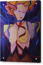 Woman Coming Undone Acrylic Print by Carolyn LeGrand