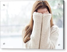 Woman Covering Face Acrylic Print by Ian Hooton