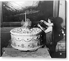 Woman Cuts 250 Pound Cake Acrylic Print by Underwood Archives