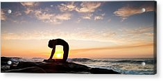 Woman Doing Yoga Camel Pose Acrylic Print by Panoramic Images