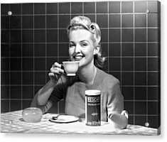 Woman Drinking Nescafe Acrylic Print by Underwood Archives