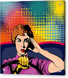 Woman Driving A Car Pop Art Vector Acrylic Print