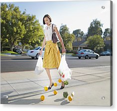 Woman Dropping Groceries On Sidewalk Acrylic Print by Chris Ryan
