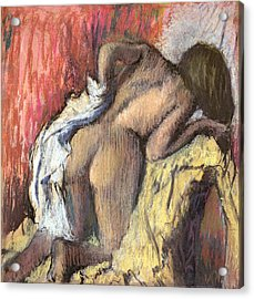 Woman Drying Herself Acrylic Print by Edgar Degas