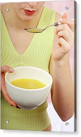 Woman Eating Soup Acrylic Print by Lea Paterson/science Photo Library