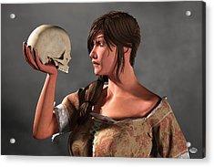 Woman Examining A Skull. Acrylic Print