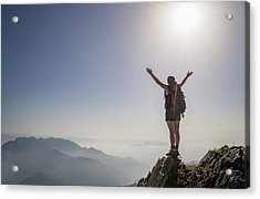 Woman Exulting On A Mountaintop Acrylic Print by Buena Vista Images
