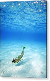 Woman Free Diving Acrylic Print by M Swiet Productions