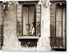 Woman Gazing Out Of A Window Contemplating Acrylic Print by Stephen Spiller