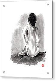 Woman Geisha Erotic Act Beautiful Girl  Japanese Ink Painti Acrylic Print by Mariusz Szmerdt