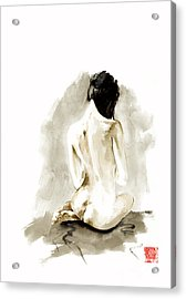 Woman Geisha Erotic Act Japanese Ink Painting Acrylic Print by Mariusz Szmerdt