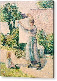 Woman Hanging Laundry Acrylic Print by Camille Pissarro