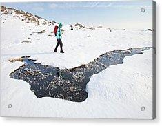 Woman Hill Walker By A Frozen Bog Acrylic Print by Ashley Cooper