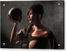 Woman Holding A Skull Acrylic Print