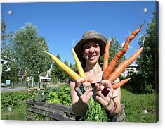 Woman Holding Carrots Acrylic Print by Gombert, Sigrid