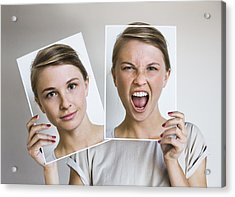 Woman Holding Happy And Angry Portraits Acrylic Print by Dimitri Otis