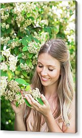 Woman Holding White Flowers Acrylic Print by Ian Hooton/science Photo Library
