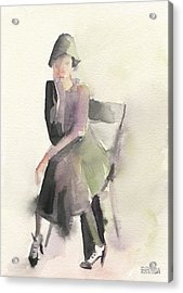 Woman In A Cloche Hat Watercolor Fashion Illustration Art Print Acrylic Print by Beverly Brown