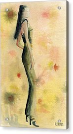 Woman In A Green Jumpsuit Fashion Illustration Art Print Acrylic Print by Beverly Brown