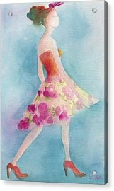 Woman In A Pink Flowered Skirt Fashion Illustration Art Print Acrylic Print by Beverly Brown
