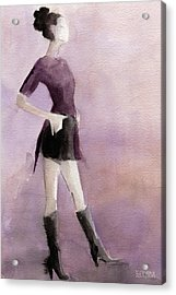 Woman In A Plum Colored Shirt Fashion Illustration Art Print Acrylic Print by Beverly Brown